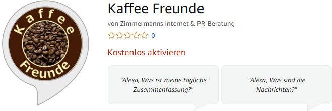 Kaffee-Freunde Skill Amazon